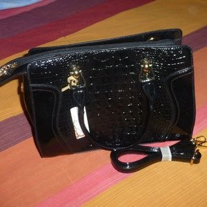 Handbags - Vegan Patent Leather Black Purse with Strap, NWT